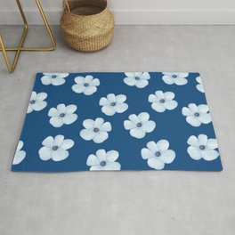 Blue Watercolor Flower Pattern Rug