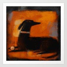 BLACK DOG ON ORANGE Art Print