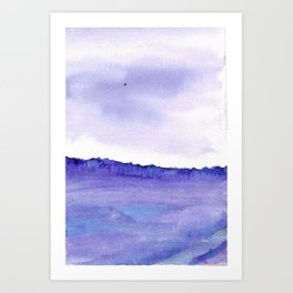 Violet and blue watercolour and ink landscape,english countryside painting Art Print