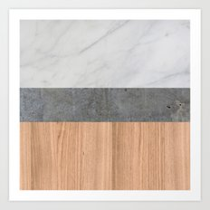 Carrara Marble, Concrete, and Teak Wood Abstract Art Print