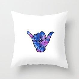 Shaka Hand - Hang Loose Distressed Blue Tie Die Throw Pillow