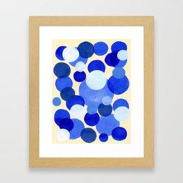 Colorful Blue White Watercolor Bubbles Framed Art Print