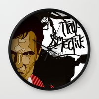true detective Wall Clocks featuring True Detective by Vito Fabrizio Brugnola