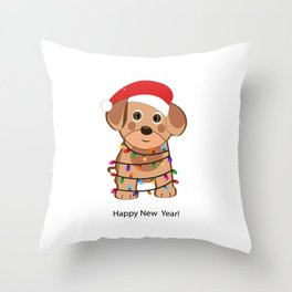 Cute dog with Santa Claus hat and light bulb Throw Pillow