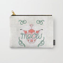 Cat's Meow // Illustration of Smiling Cat with Calligraphy Carry-All Pouch