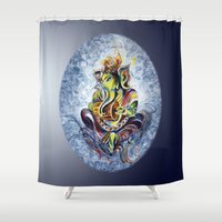 ganesha Shower Curtains featuring Ganesha by Harsh Malik