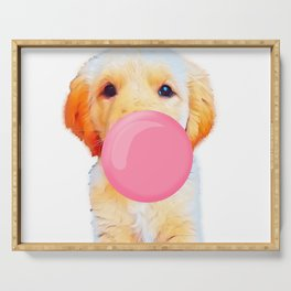 Cute golden retriever with chewing gum Serving Tray