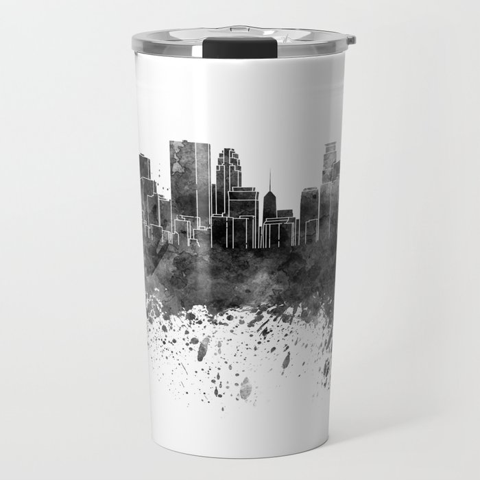 Minneapolis skyline in black watercolor on white background Travel Mug