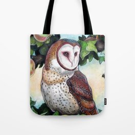 Barn Owl in Apple Tree Tote Bag