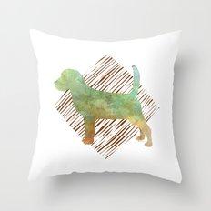 Modern Beagle Dog Watercolor Stripes Throw Pillow