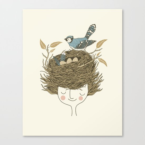 Bird Hair Day Canvas Print