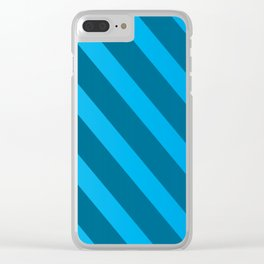 Abstract Blue On Blue Stripes Clear iPhone Case