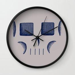 Skull Linework (Dark Blue / Gray) Wall Clock