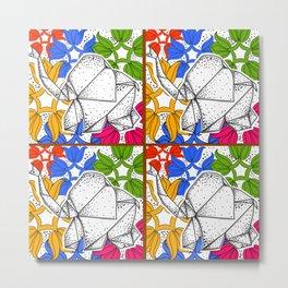 Elephant (origami)_floral Metal Print