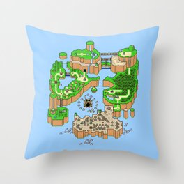 Super Mario World Map Throw Pillow