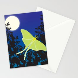 Luna Moth and Full Moon Stationery Cards