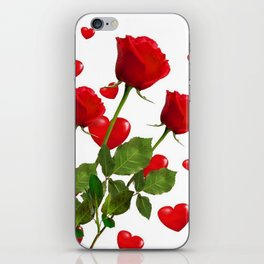 RED  ROSES & VALENTINES HEARTS  DESIGN iPhone Skin