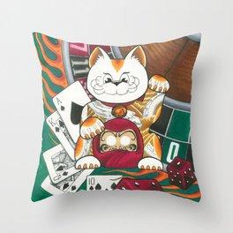 Lucky Cat Gambler Throw Pillow