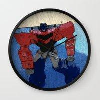 optimus prime Wall Clocks featuring Optimus by Tara Michele