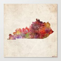kentucky Canvas Prints featuring Kentucky map by MapMapMaps.Watercolors