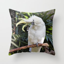 Sulfur-Crested Cockatoo Salutes the Photographer Throw Pillow