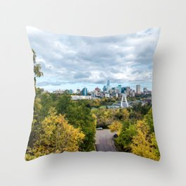 Painting of Warm Autumn Day Over Downtown Edmonton AB During Fall 2019 Throw Pillow