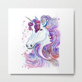 Rainbow unicorn portrait Metal Print