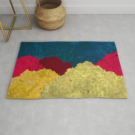 Abstract Mosaic Mountains Art With Vibrant Golden Texture Rug