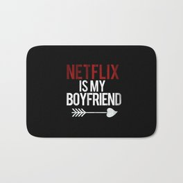 Netflix is my Boyfriend Vintage Cupid Black Print Bath Mat