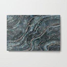 Teal Green Gemstone Marble Mix Metal Print