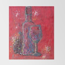 Fun Colorful Modern Wine Art  Fun Colorful Modern Wine Art (wine bottle & glasses) by lena owens Throw Blanket