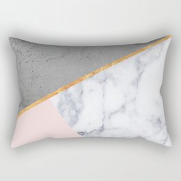Marble Blush Gold gray Geometric Rectangular Pillow