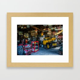Tow Truck Garage at Restored Service Station on Route 66 in Missouri Framed Art Print