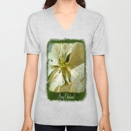 Pale Yellow Poinsettia 1 Merry Christmas P1F1 Unisex V-Neck