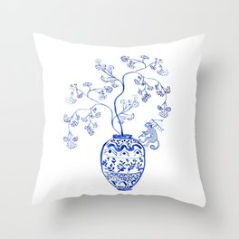 Whimsical Chinoiserie with monkey Throw Pillow