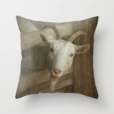 The curious goat Throw Pillow