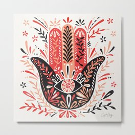 Hamsa Hand – Red & Black Palette Metal Print