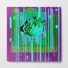 Green-Purple Fantasy Green Rose Abstract Metal Print