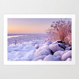 Frozen lake Markermeer, The Netherlands at sunrise Art Print