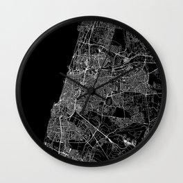 Tel Aviv-Yafo Black Map Wall Clock