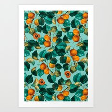 Peach and Leaf Pattern Art Print