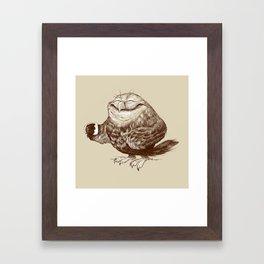 Owl needs Coffee Framed Art Print