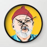 steve zissou Wall Clocks featuring Steve Zissou by Jeroen van de Ruit
