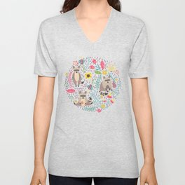 Raccoons bright pattern Unisex V-Neck