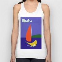 sailboat Tank Tops featuring cute sailboat by laika in cosmos