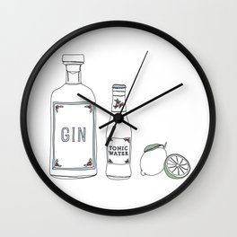 Gin tonic and lime illustration Wall Clock
