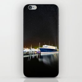 Boats under the milky way iPhone Skin