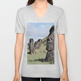 Chile Easter Island Moais Ahu Tongariki Artistic Illustration Colored Sketch Unisex V-Neck