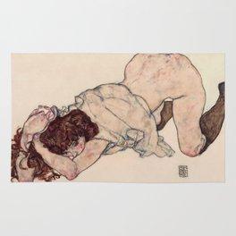 "Egon Schiele ""Kneeling Girl, Resting on Both Elbows"" Rug"