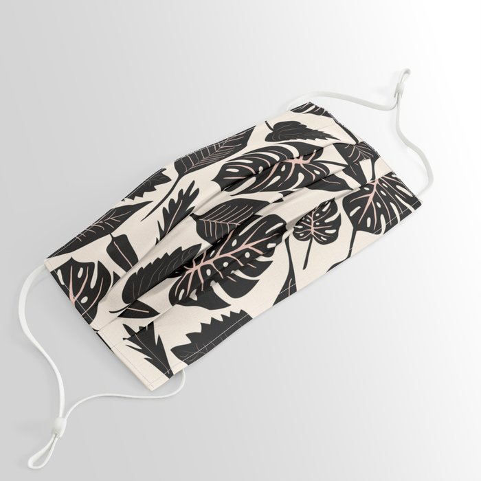 Monstera pattern in black and pastel Face Mask